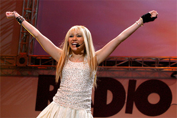 Hannah Montana onstage during the Radio Disney Totally 10 Birthday Concert in 2006