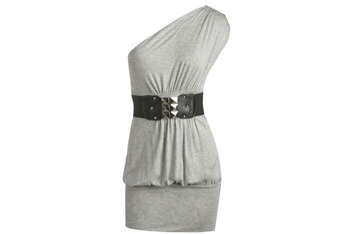 One shoulder belted grey dress from Wet Seal, $23