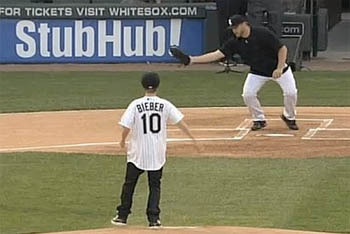 Justin Bieber's First Pitch