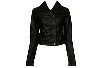 Faux cozy leather jacket from Forever21.com, $34