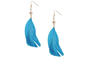 Feather earrings from Forever21.com, $3.80