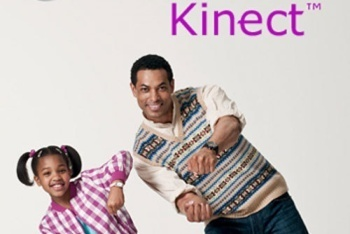 Father and daughter playing racing game on Kinect