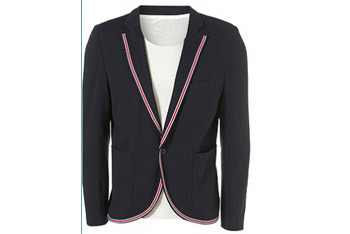 Navy sports trim skinny jacket from www.Topman.com, $110