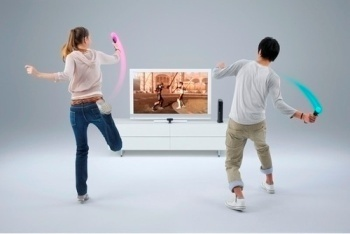 Kids playing with Sony Move