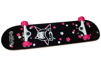 Cat Girl Flower Power Skateboard from www.Coolgirldecks.com, $96