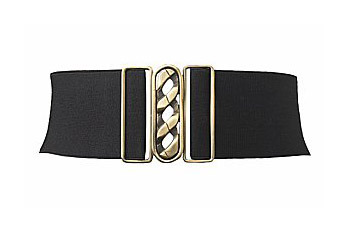 Black chain buckle stretch belt, $8