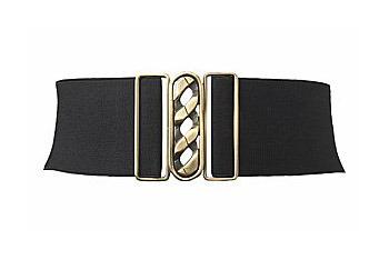 Black chain buckle stretch belt, $8