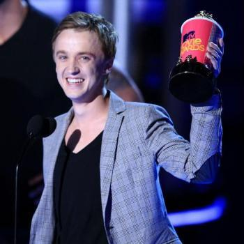 Tom Felton Accepting Award for Best Villain