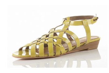 """""""Nelly"""" weaved yellow sandals from Topshop.com, $30"""