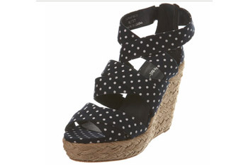 Raffia polka dot wedge sandals from MissSelfridge.com, $60