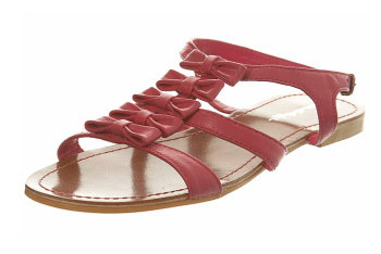 Fuschia bow gladiator sandal from MissSelfridge.com, $40