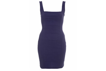 Blue ribbed body con dress from MissSelfridge.com, $45