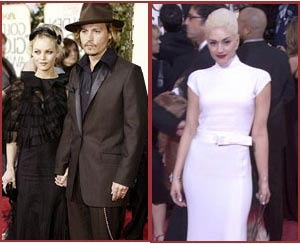 Johnny Depp, Vanessa Paradis and Gwen Stefani at the 2004 Golden Globes.