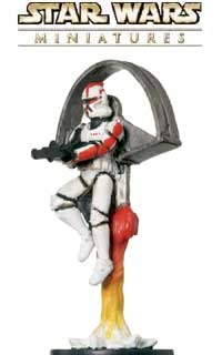 This flying warrior is a sneak peek from the Clone Strike expansion for the Star Wars Miniatures game from Wizards of the Coast!