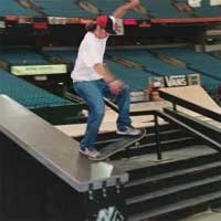 Skateboarder does a sick box slide at 2004 Slam City Jam.