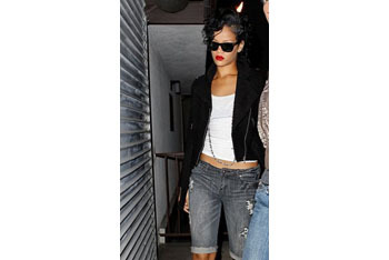 Rihanna in denim bermudas