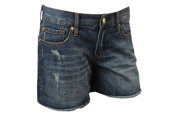 Cut-off whiskered shorts in denim from Forever21.com, $22.80