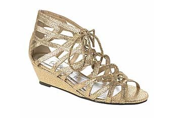 Distressed wedge sandal in gold from NewLook.com, $18