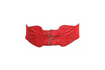 Double buckle red belt from  Torrid.com, $10