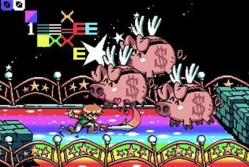 Scott Pilgrim vs. The World game flying piggy banks