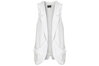 Slouch pocket white waistcoat from Oasis-stores.com, $35