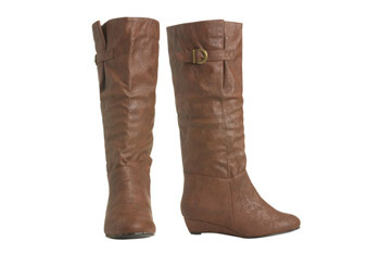 Basic buckle flat boot from WetSeal.com, $29.50
