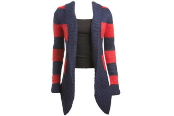 Large stripe cocoon sweater from WetSeal.com, $19