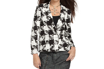Rachel Roy check blazer from Macys.com, $54.99