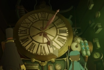 Professor Layton and the Unwound Future giant clock