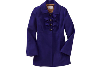 Ruffled wool-blend coats from OldNavy.com, $89.50