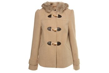 Stone fur hood duffle jacket from MissSelfridge.com, $75
