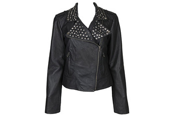Studded leather jacket from Forever21.com, $47.80
