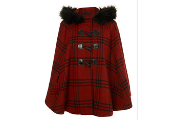 Red checked cape from MissSelfridge.com, $110