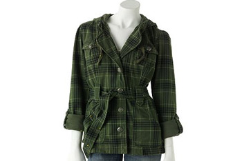 Self Esteem plaid hooded military jacket from Kohls.com, $40