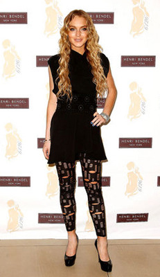 Lindsay Lohan wears patterned leggings to an event!