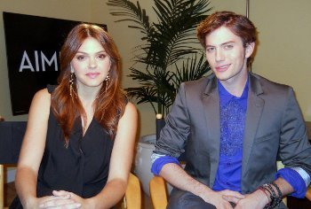 Aimee Teegarden and Jackson Rathbon at the interview