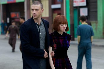 Sylvia Weis (Amanda Seyfried) gets escorted around town by Will Salas (Justin Timberlake)