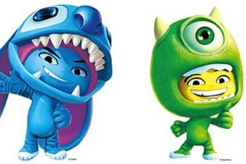 Disney Universe characters in disney costumes stitch and mike