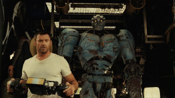 Hugh Jackman with Real Steel Robot