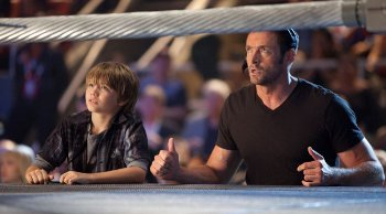 Hugh and Dakota on the set of Real Steel