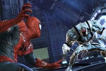 Spider-Man: Edge of Time Original Spider-Man battling Atrocity