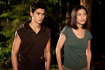 Booboo Stewart and Julia Jones