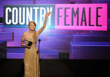 Taylor Swift accepting her award