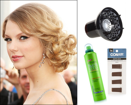 Taylor Swift, REVLON hair diffuser, $9.99, GARNIER Sleek and Shine Anti Humidity hairspray, $3.49, CONAIR bobby pins, $1.89