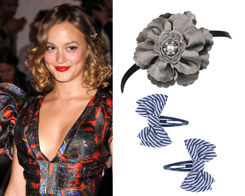 Leighton Meester, Floral headband, $4.80, Striped bow hair clips, $2.80 both at FOREVER21.com