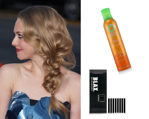 Amanda Seyfried, CLAIROL Volumizing hairspray, $3.39, Blax Hair Elastics, $3.99