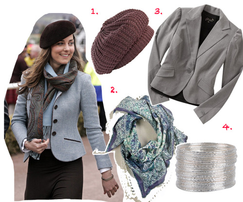 Grey blazer, $14, at OldNavy.com, Super soft beret, $11, at Dillards, Floral bauble scarf, $24.50, at American Eagle, 50 piece bangle set, $3.50, at Forever21.com