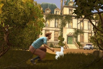 The Adventures of Tintin: The Secret of the Unicorn screenshot sneaking up to the mansion