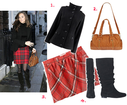 Funnel neck black coat, $40, at Peacocks.co.uk, Plaid mini skirt, $17, at OldNavy.com, Fizzy black boots, $56, at Delias.com, Crinkled handle handbag, $28, at Forever21.com