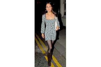 A simple graphic print dress and boots